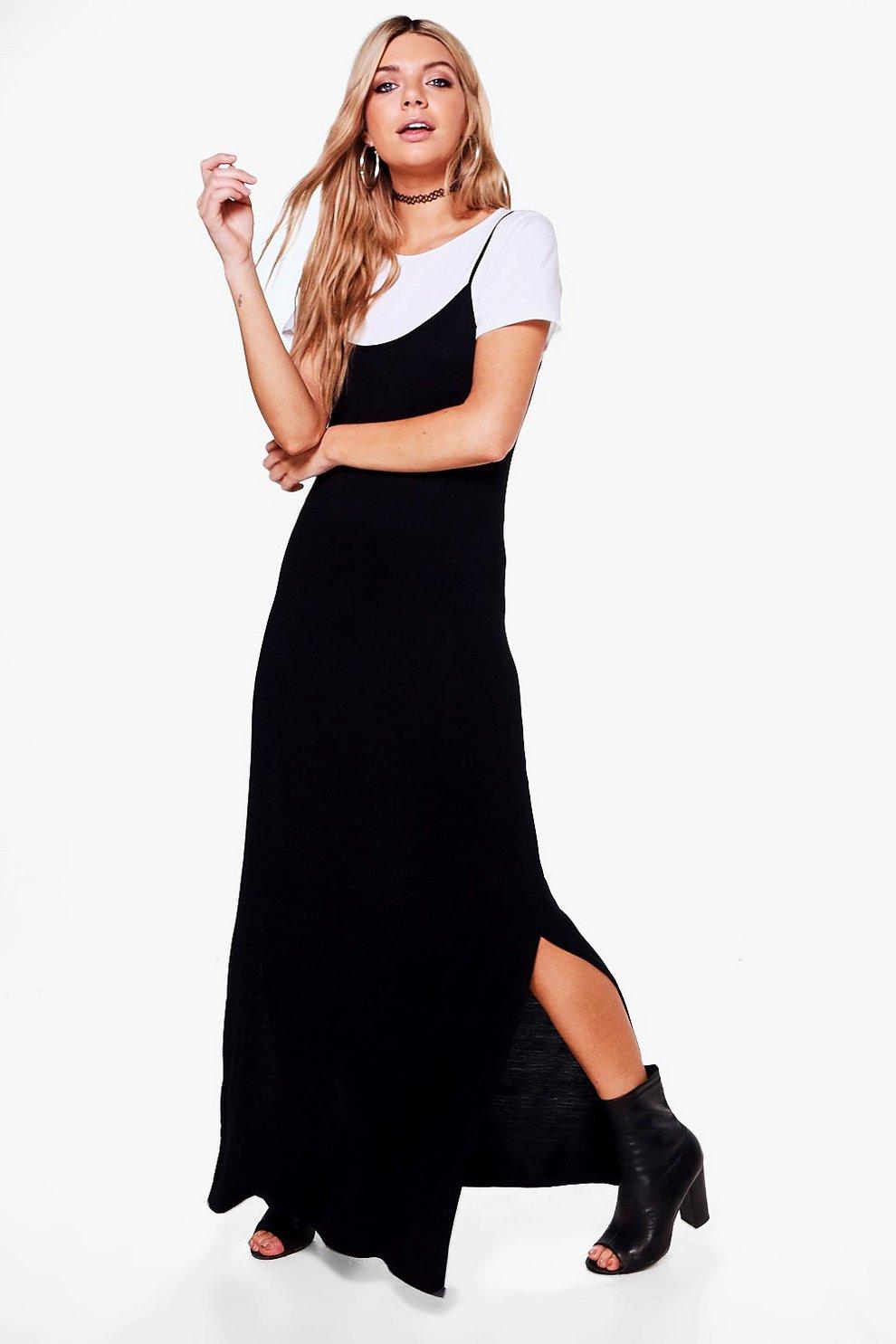 Ashlee 2 In 1 Wide Side Split Maxi Dress Boohoo
