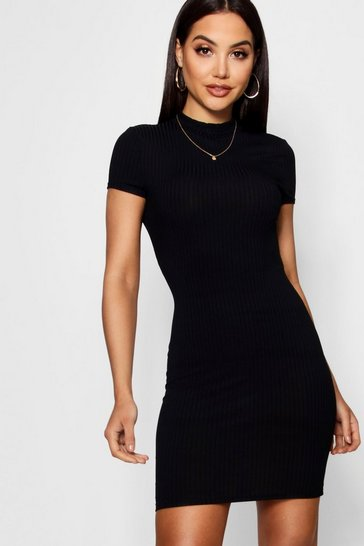 Womens Black High Neck Cap Sleeve Rib Bodycon Dress