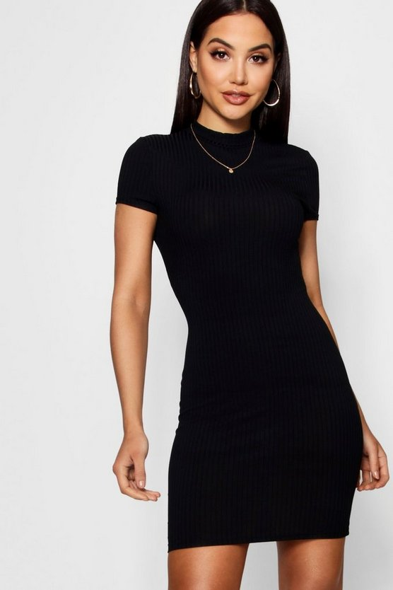 High Neck Cap Sleeve Rib Bodycon Dress