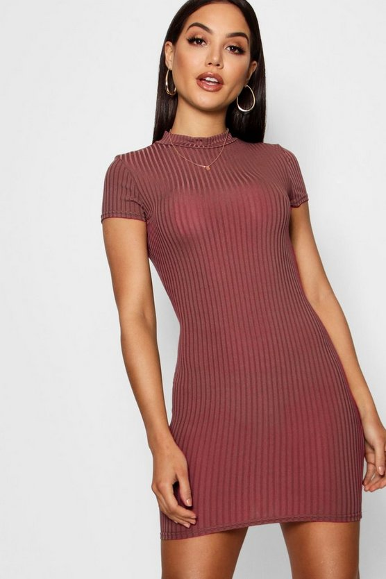 Womens Cinnamon High Neck Cap Sleeve Rib Bodycon Dress