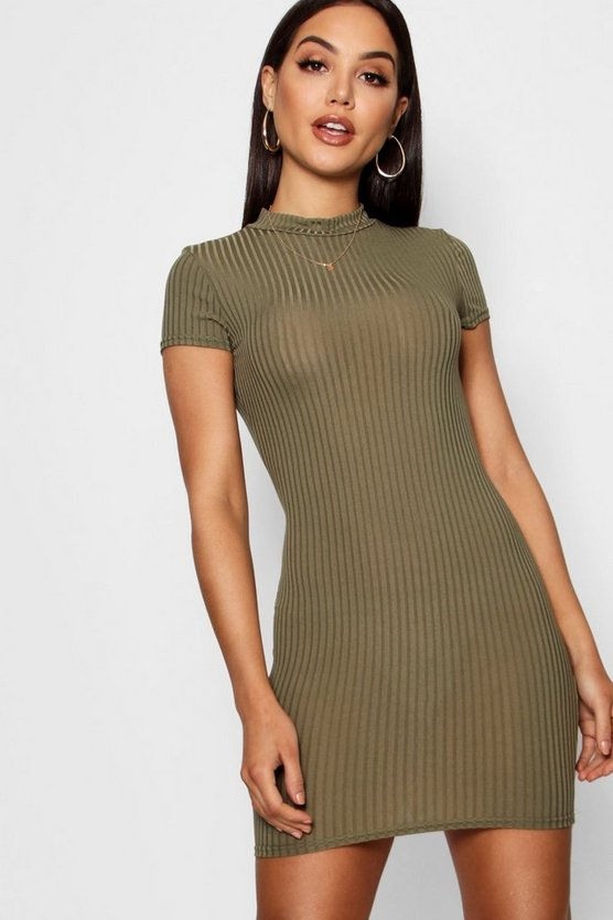 Womens Khaki High Neck Cap Sleeve Rib Bodycon Dress