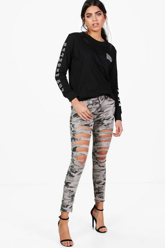 Sally Camo Distressed Skinny Jeans
