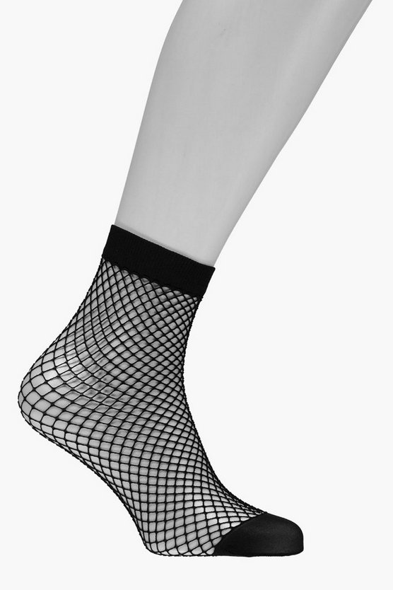 Womens Black Medium Scale Fishnet Ankle Socks