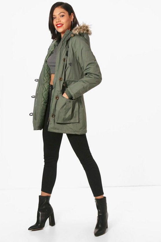 Padded Parka With Faux Fur Hood