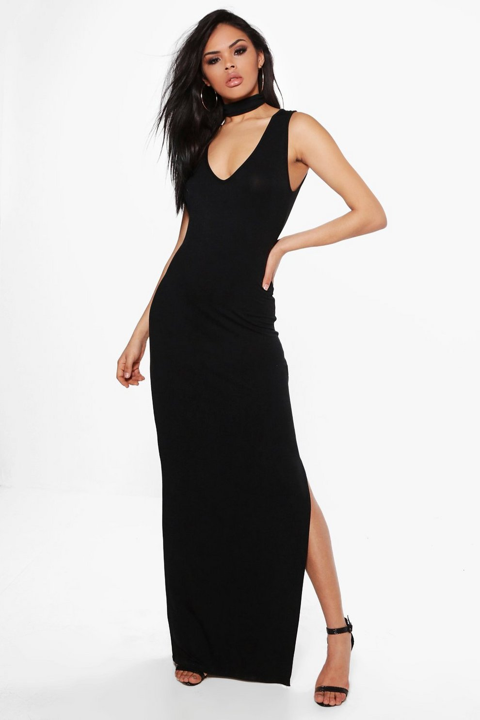 fcc27e3f18a Jane Choker Detail Side Split Maxi Dress