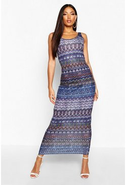 Womens Multi Printed Sleeveless Maxi Dress