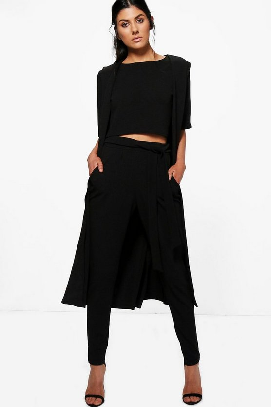 Jill 3 Piece Trouser Crop & Duster Co-ord