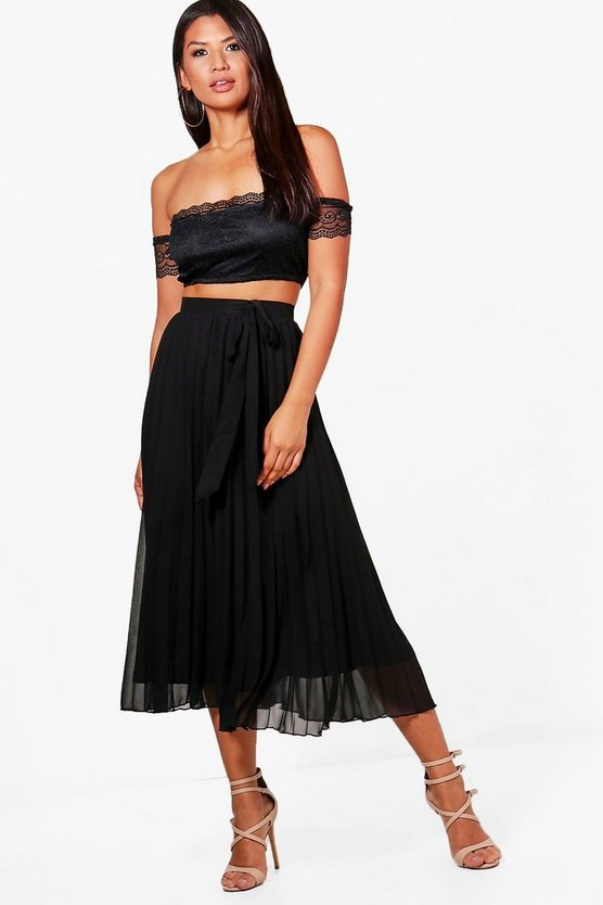 Boutique Lauren Lace Crop & Pleat Skirt Co-ord