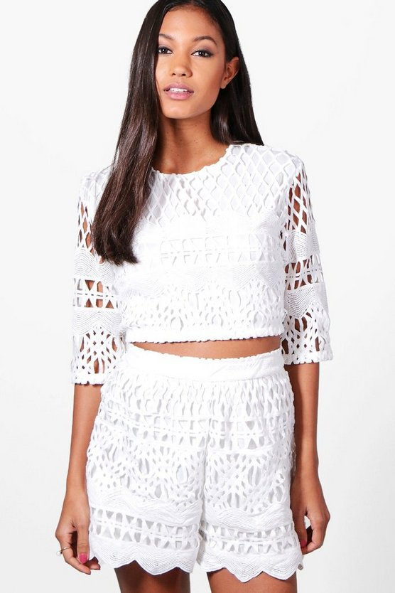 Womens Ivory Boutique Ray Crochet Crop & Short Co-ord Set