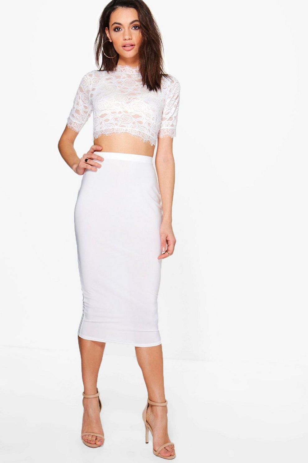 9a1d38428ddf Lianne Lace Crop & Slinky Skirt Co-ord Set | Boohoo