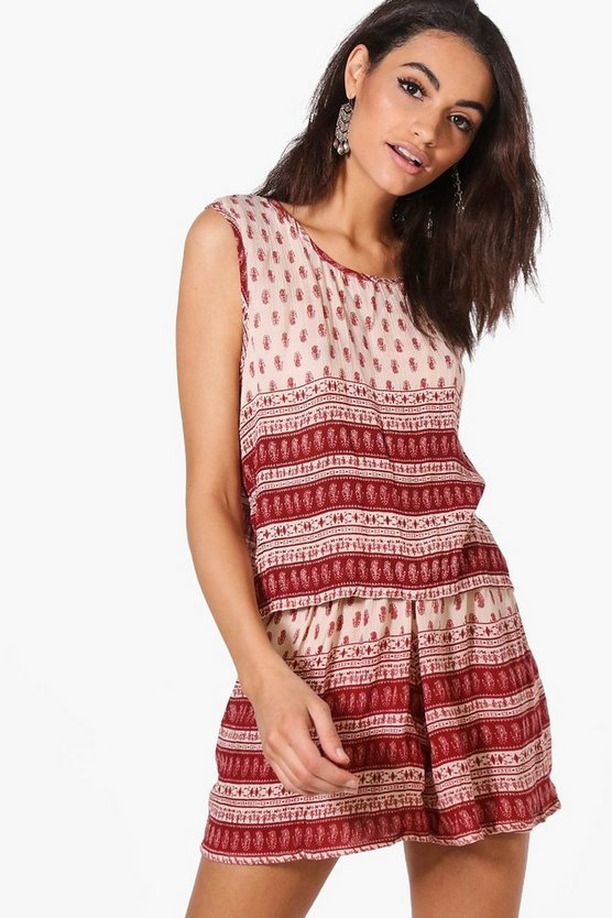 Jayne Woven Border Print Short Co-ord Set