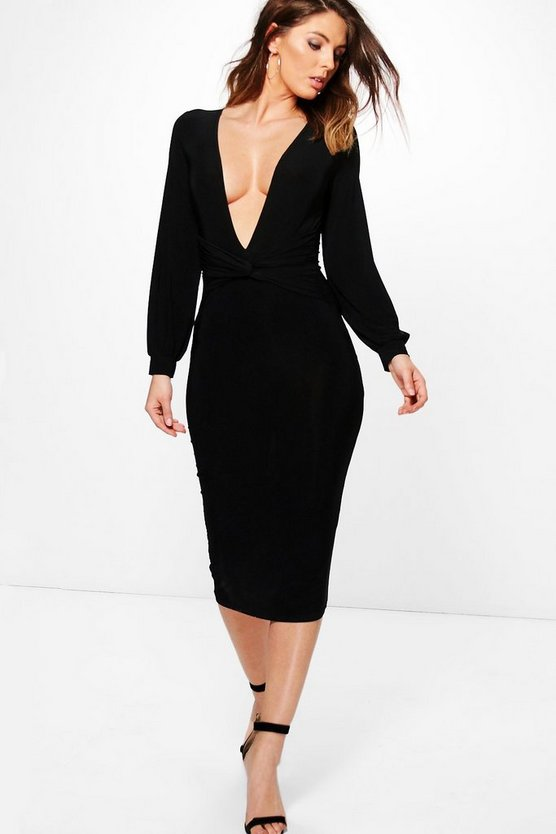 Alia Slinky Knot Blouson Sleeved Midi Dress