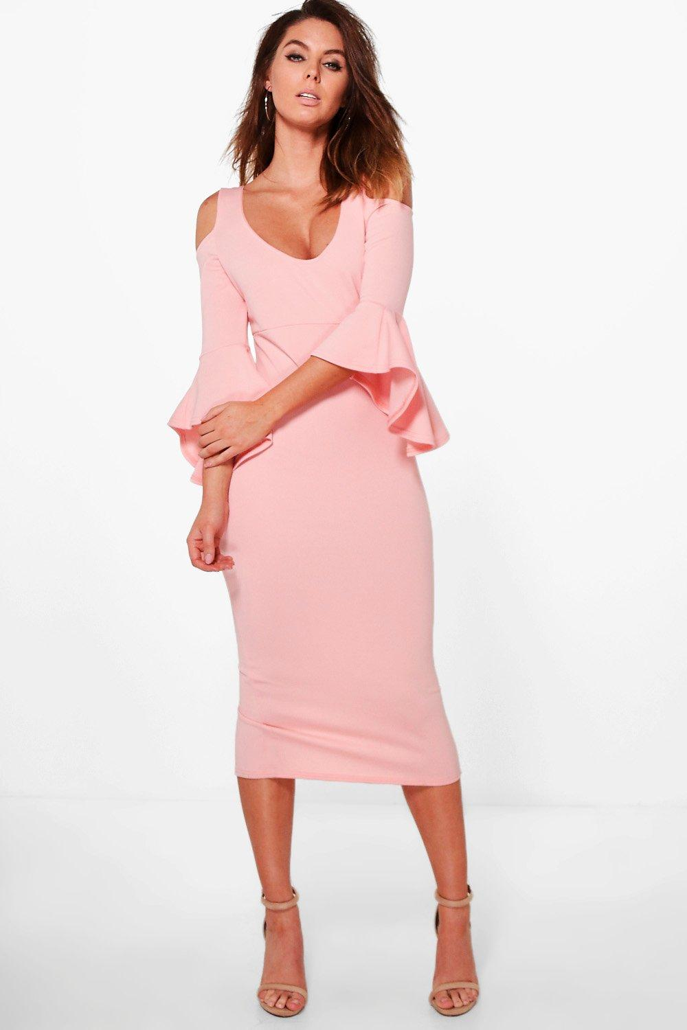 4001595d046255 Open Shoulder Frill Midi Dress. Hover to zoom