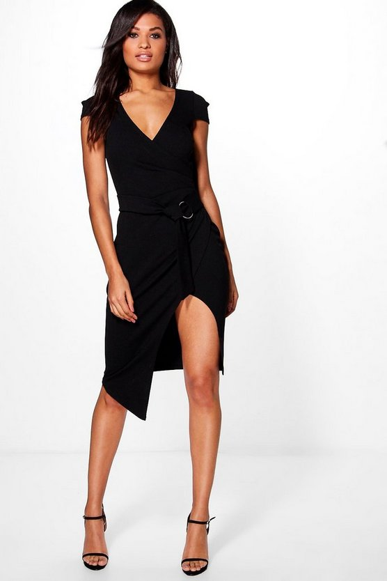 Meg Belted Wrap Midi Dress