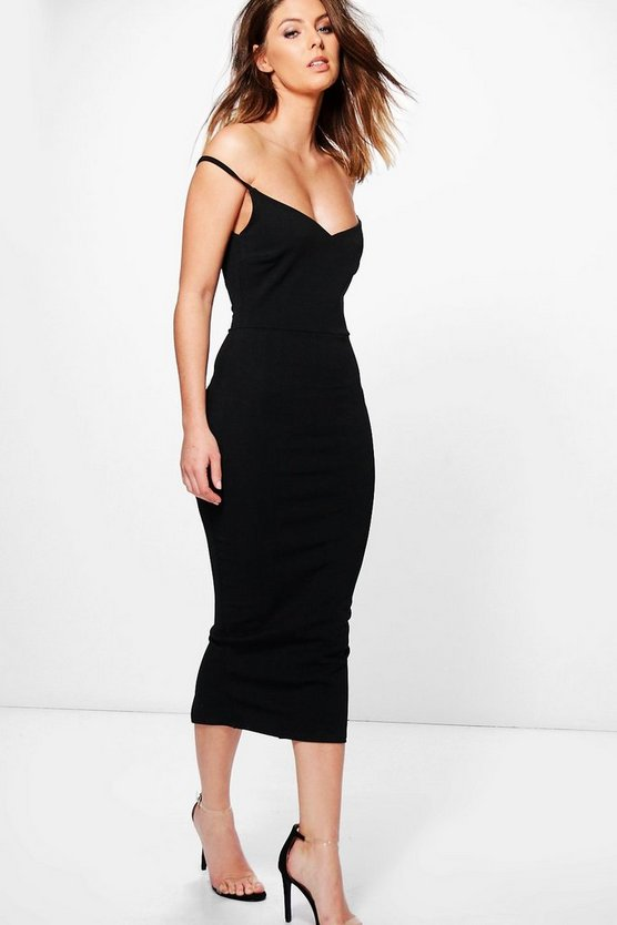 Ash Structured Off Shoulder Midi Dress