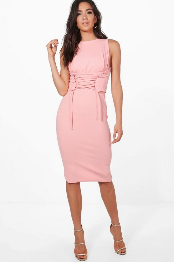 Cara Corset Lace Peplum Midi Dress