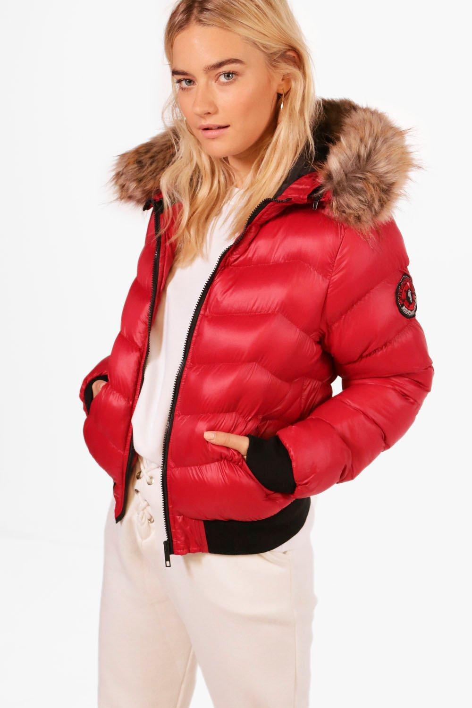 Womens padded coat faux fur hood