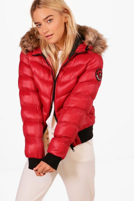 Cropped Padded Jacket With Faux Fur Hood