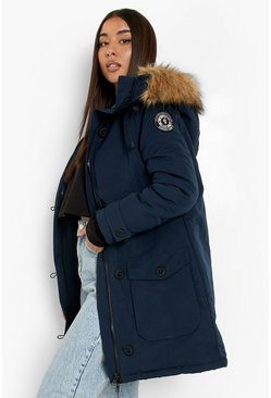 Navy Faux Fur Trim Hooded Padded Jacket