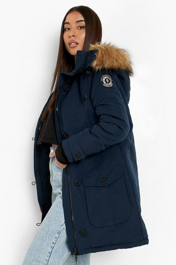Womens Navy Faux Fur Trim Hooded Padded Jacket