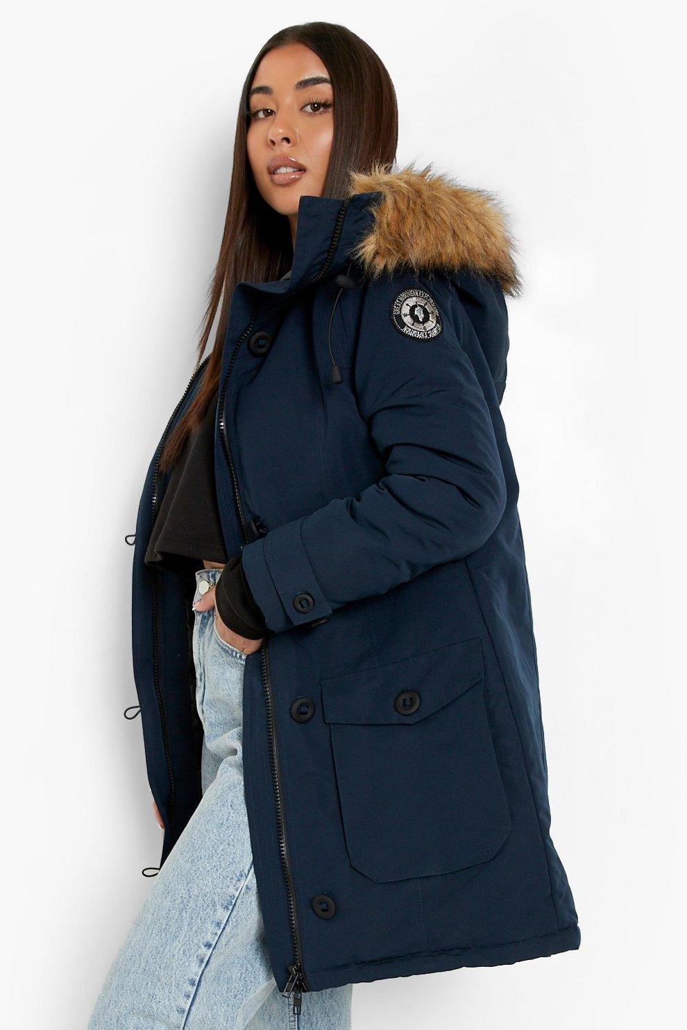 Faux Fur Trim Hooded Padded Jacket Boohoo