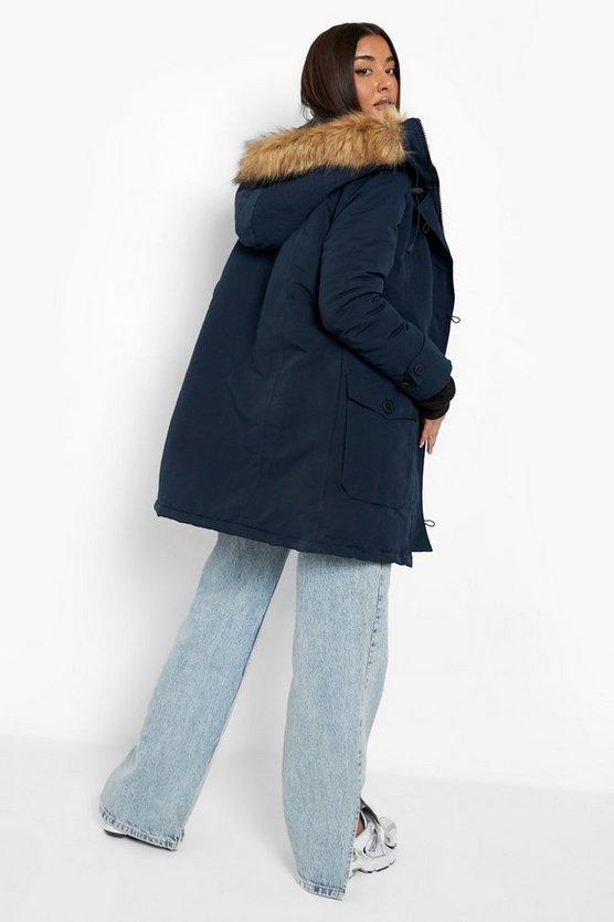 Faux Fur Trim Hooded Padded Jacket
