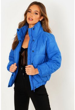 Womens Cobalt Crop Funnel Neck Padded Jacket