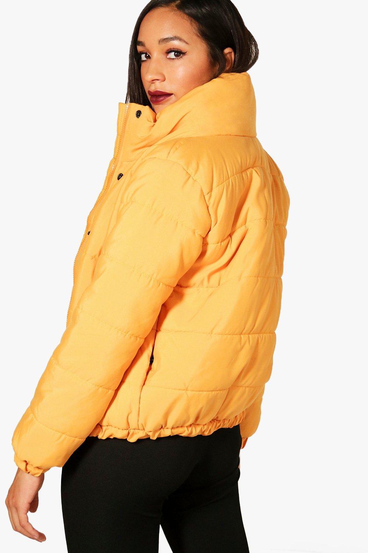 acolchada Crop Chaqueta con alzado mustard de cuello Xy4dyq