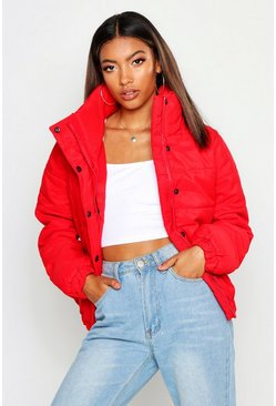 Womens Red Crop Funnel Neck Padded Jacket