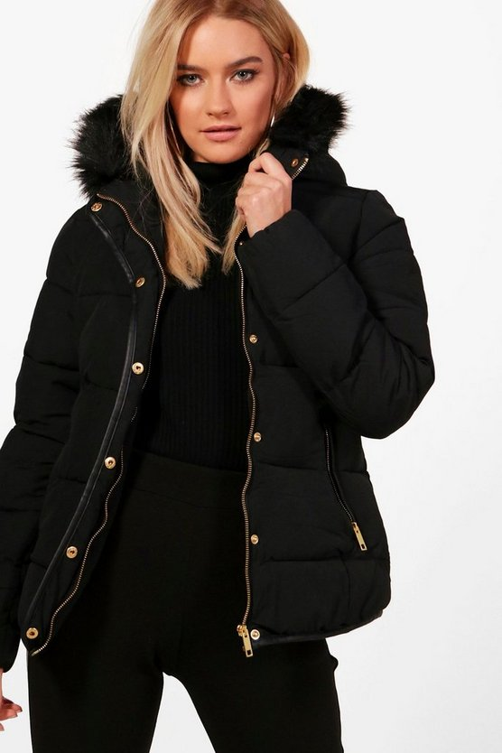 Womens Black Fitted Padded Jacket With Faux Fur Hood