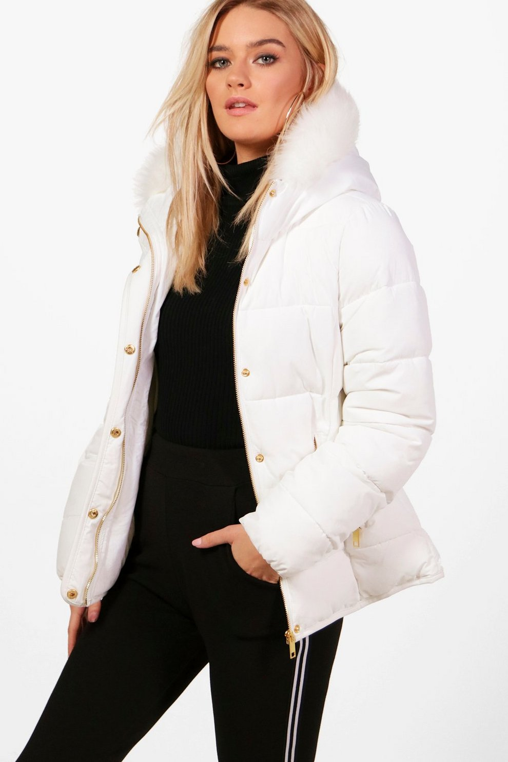 Fitted Padded Jacket With Faux Fur Hood Boohoo