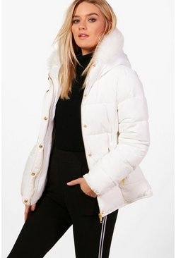 Womens White Fitted Padded Jacket With Faux Fur Hood