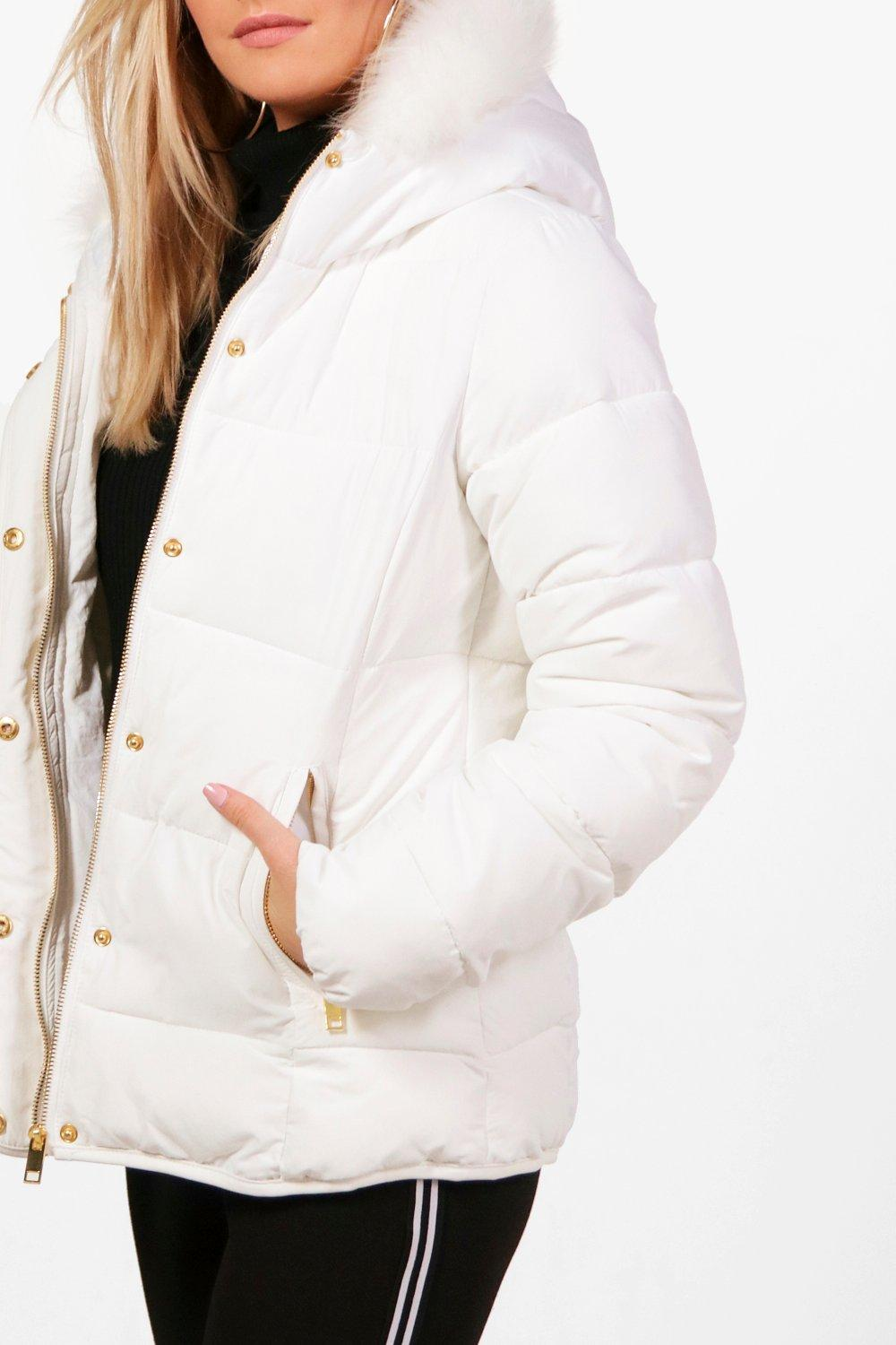 Jacket Faux Hood white Fitted With Padded Fur Cq6g54