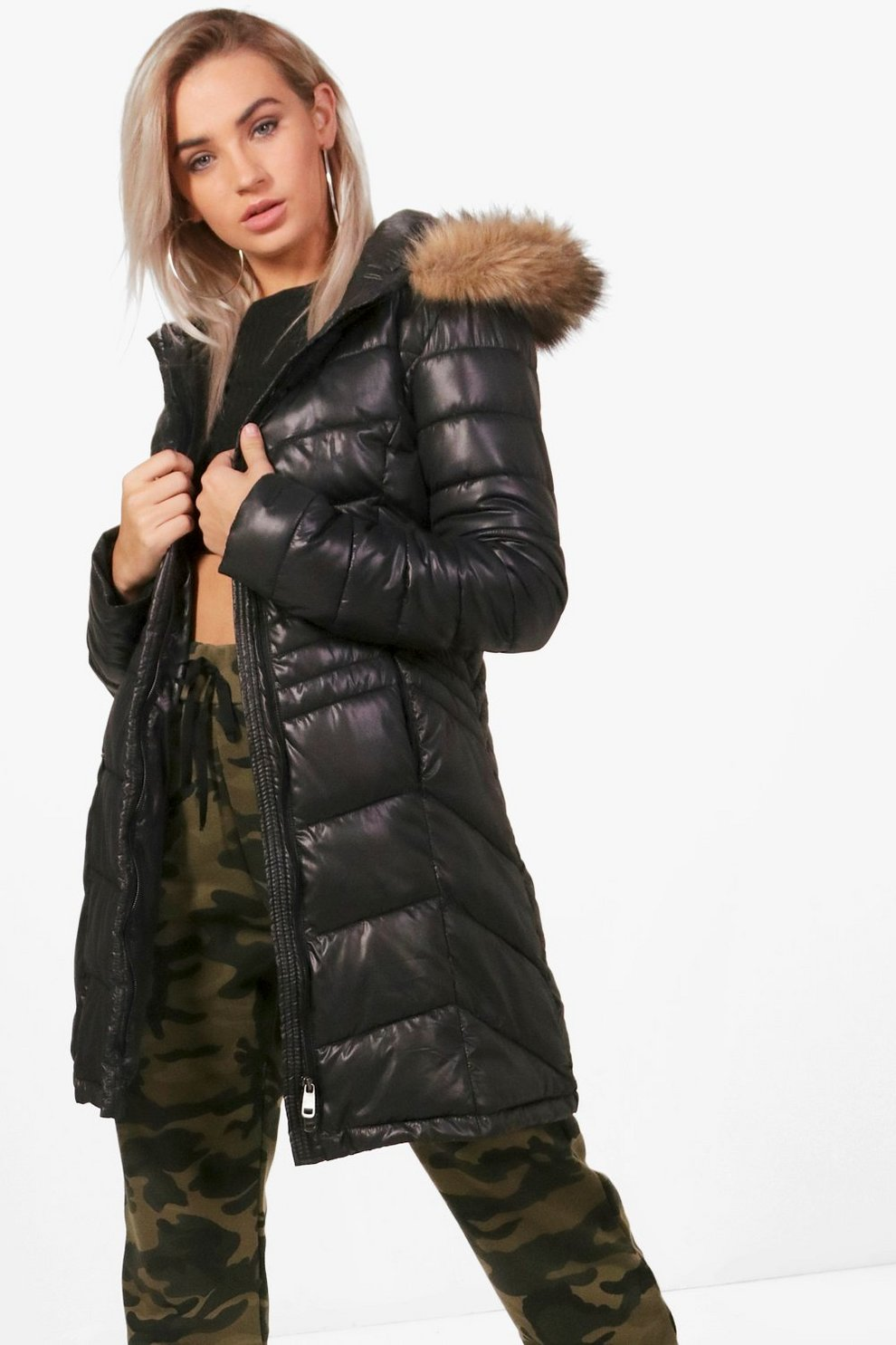 Jennifer Fitted Padded Jacket With Faux Fur Hood Boohoo