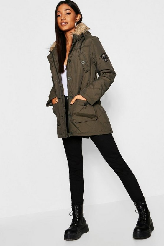 Womens Khaki Quilted Parka With Faux Fur Hood