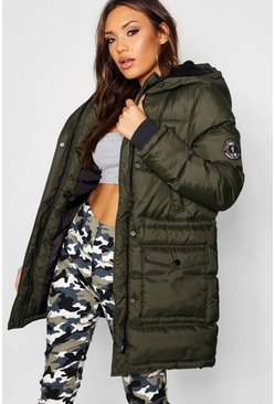 Womens Khaki Quilted Sporty Padded Parka