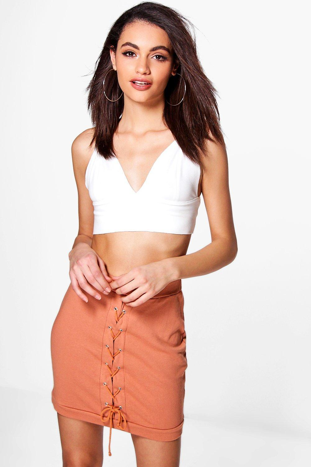 Sloane Lace Up Front Loopback Casual Skirt