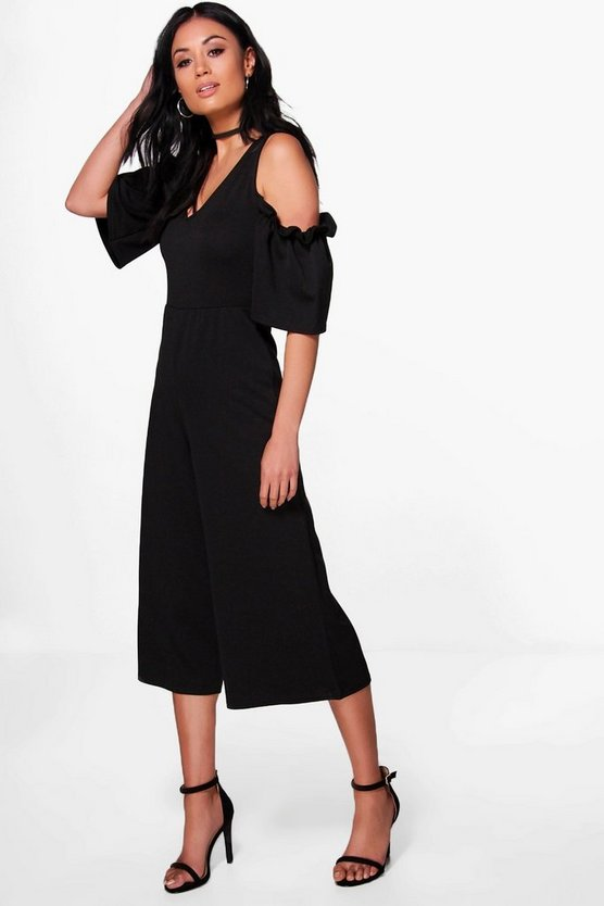 Ruffle Cold Shoulder Tailored Jumpsuit