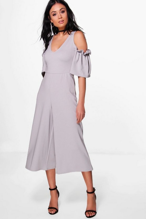 Erin Ruffle Cold Shoulder Tailored Jumpsuit