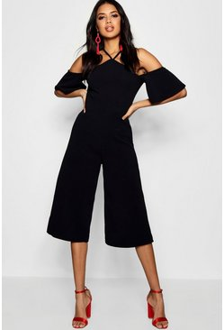 Womens Black Open Shoulder Culotte Jumpsuit