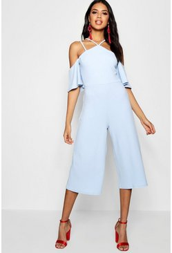 Womens Sky Open Shoulder Culotte Jumpsuit