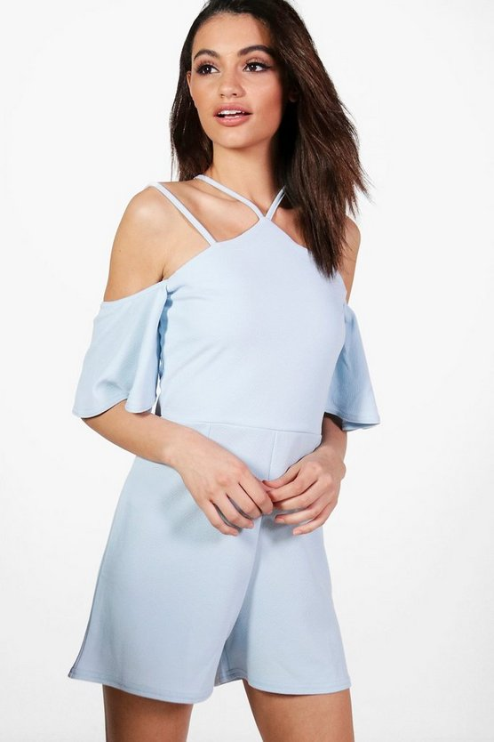 Emily Open Shoulder Strappy Playsuit