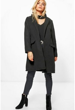 Womens Black Boyfriend Coat