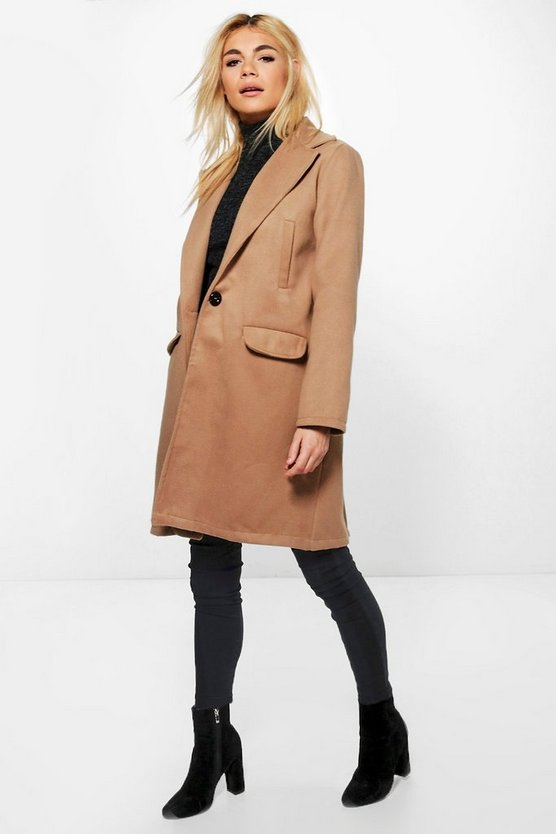 Womens Camel Boyfriend Coat
