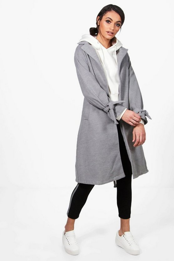 Womens Grey Veronica Belted Detail Coat