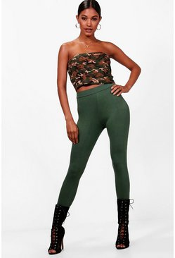 Womens Khaki High Waist Leggings