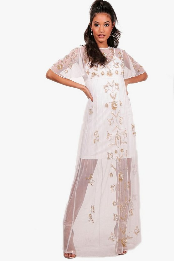 Boutique Embellished Sheer Maxi Dress