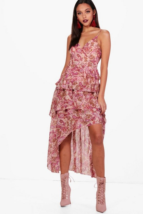Paisley Ruffle Dip Back Hem Maxi Dress