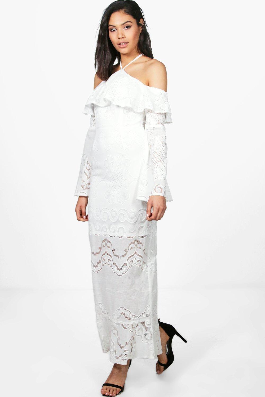 Boutique Bardot Ruffle Lace Maxi Dress Boohoo