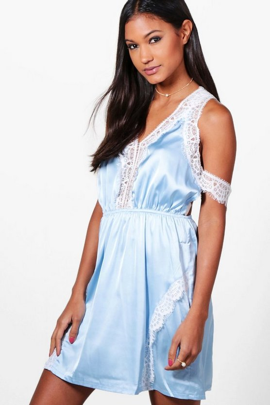Boutique Bec Satin & Lace Cold Shoulder Dress